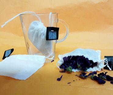Infusettes réutilisables en coton bio, tasse, fleurs de mauve